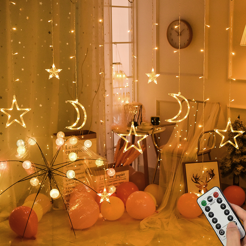 LED icicle Star Moon Lamp Fairy Curtain String <font><b>Lights</b></font> Christmas Garland Outdoor <font><b>For</b></font> Bar <font><b>Home</b></font> Wedding Party Garden Window <font><b>Decor</b></font> image