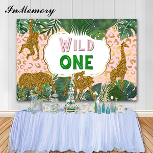 InMemory Wild One Birthday Party Photography Backgrounds Jungle Safari Elephant Tiger Green Leaf Kids Party Banner Photophone