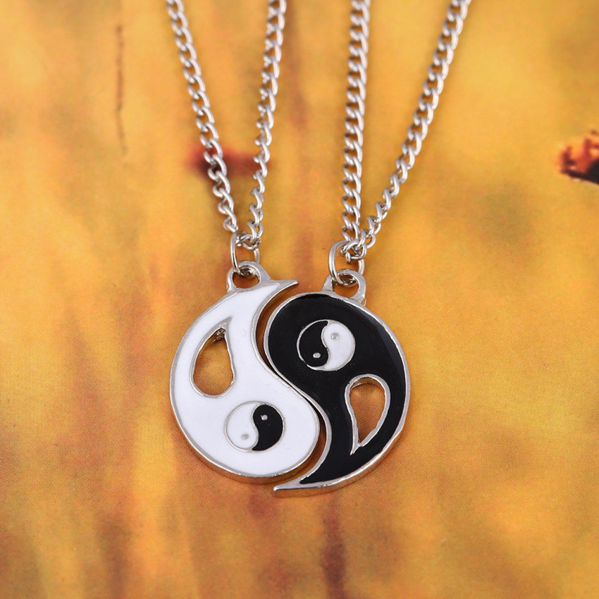 Couples Necklaces Best Friends Chain Necklace pendant Lover Gift Valentine's Day Gossip Tai Chi Yin Yang Yinyang Necklaces