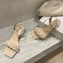 2021 Summer Fashion Women 5.5cm High Heels Party Sandals Beige Nude Stiletto Heels Open Toe Low Heels Sandals Lady Party Shoes