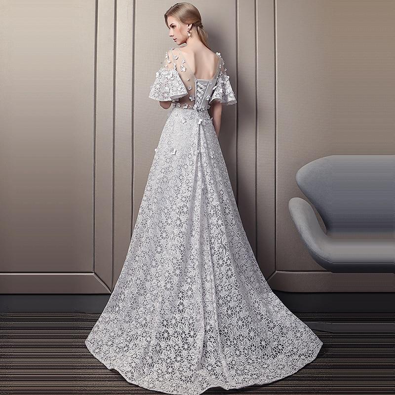 It's Yiiya Lace Evening Dresses O-Neck Short Sleeve Appliques Evening Dresses Long A-Line Plus Size Robe De Soiree K357