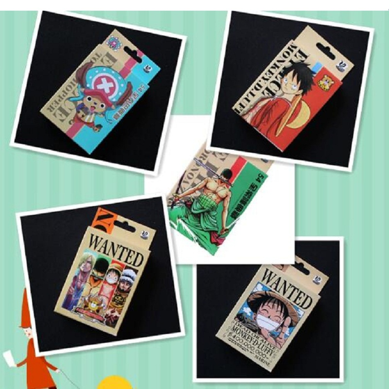 54Pcs/set One Piece Monkey D. Luffy Poker Roronoa Zoro Figure Playing Cards Collection Cards Fans Kids Birthday Toy Gift