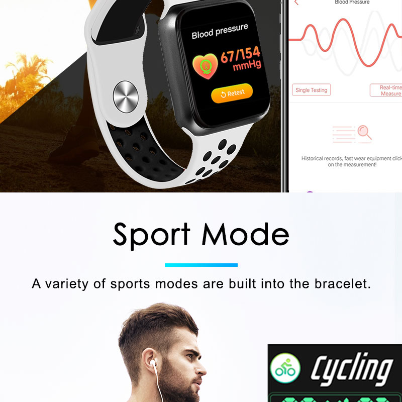 F9 s PK iwo8 b57 Touch Screen smart watches to Monitor Heart rate and Blood pressure Supported for IOS Android for men women 13