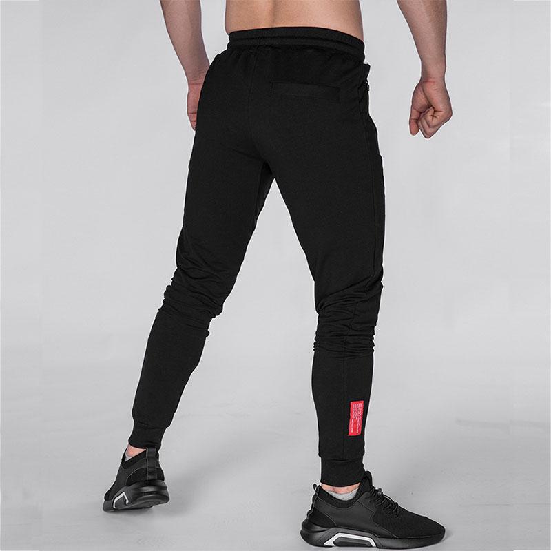New men's jogging zipper black sweatpants Large size men's fitness training night run fashion reflective LOGO fitness pants