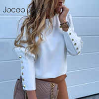 Jocoo Jolee Women Metal Buttons Long Sleeve Blouse Office Lady Shirt Casual Pineapple Print Tops Plus Size Casual Loose Blouses