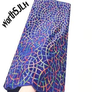 Image 1 - Ultime Africano Tessuto di Pizzo di Maglia Con Paillettes Francese Tulle Tessuto di Pizzo blu Royal Merletto Del Velluto Per Il Nigeriano Partito di Sera