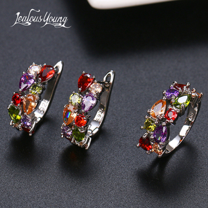 2020 Fashion Multicolor Mona Lisa Ring Earrings Sets for Women CZ Zircon Weddings Jewelry Sets for Wedding Party Brnicos(China)