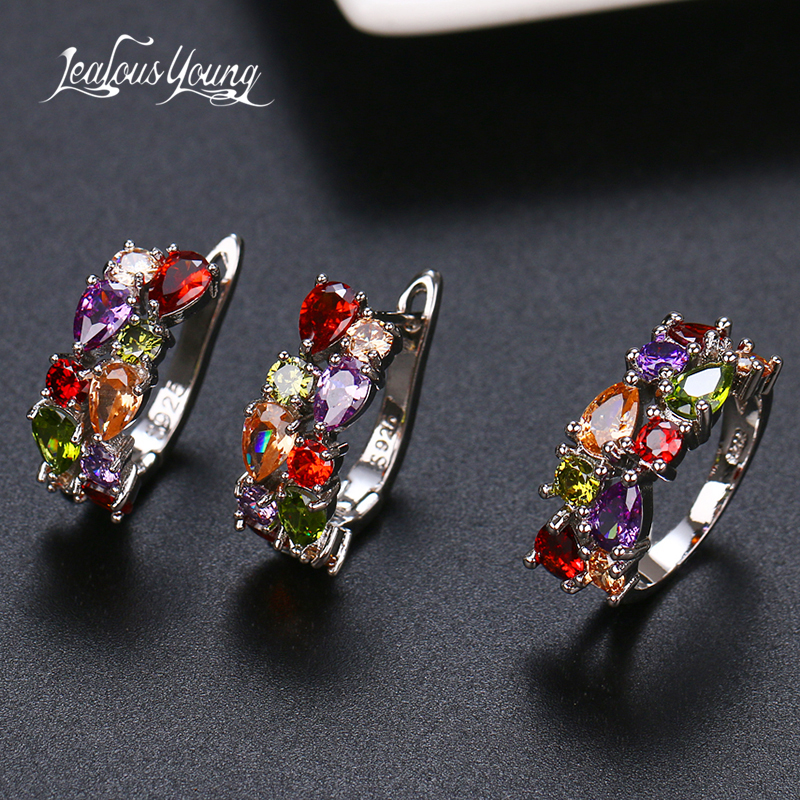 2020 Fashion Multicolor Mona Lisa Ring Earrings Sets for Women CZ Zircon Weddings Jewelry Sets for Wedding Party Brnicos