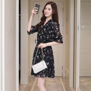 Image 5 - Plus Size Summer Vintage Chiffon Floral Boho Shirt Dress 2020 Korean Elegant Women Party Mini Dresses Casual Sun Beach Vestidos