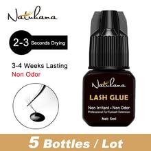 NATUHAHA 5Bottles/Lot 5ml 2-3s Fast Dry Non Odor No Smell Lash Extension Glue Simulation Individual Eye lashes Adhesive