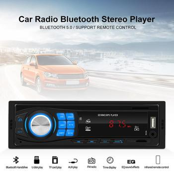 12V Car Radio FM Radio Bluetooth V5.0 Stereo Player Remote Control SD USB AUX MP3 Player Support Remote Control LED Screen image