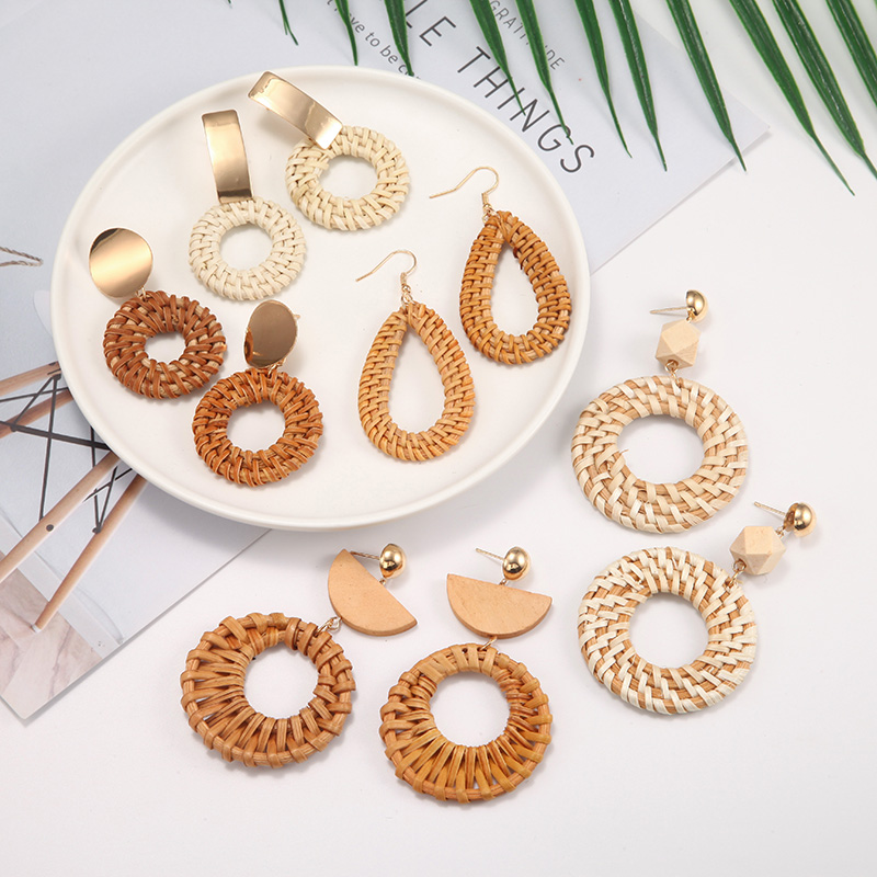 Natural Handmade Wood Earrings For Women Big Size Brand Design Round/Oval Wave Statement Earring Bohemia Jewelry brincos 2019