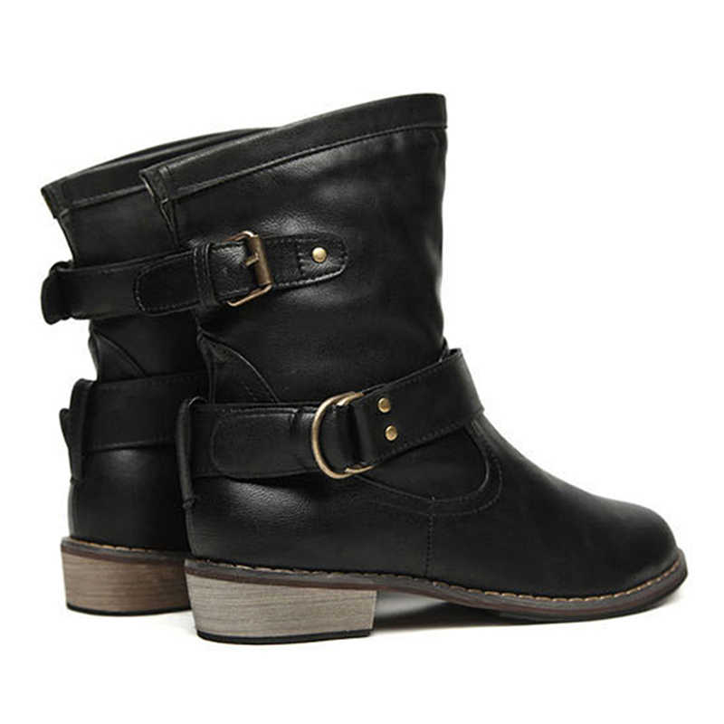 Marka PU deri motosiklet botları Biker ayakkabı kadınlar gotik Punk Combot patik platformu çizmeler yarım çizmeler kadınlar için