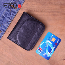 AETOO Simple retro first layer leather small wallet men and women handmade original short clips purse ultra-thin