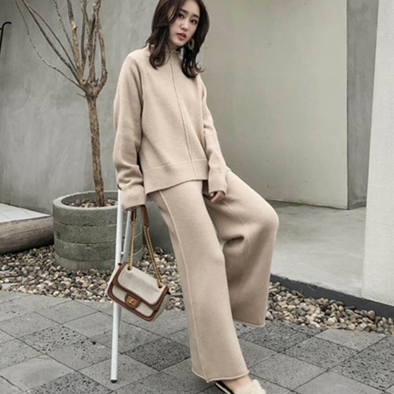 Autumn Female Sweater Trousers 2 Piece Set Women Two Piece Set O-neck Long Sleeve Knitted Pullover Tops & Wide Leg Pants Set
