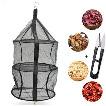 Multi-functional Camping Storage Basket 3 Tier Zipper Hanging Dry Rack Grow Net Dryer Shelf Hydroponics Herb Drying Mesh Bags