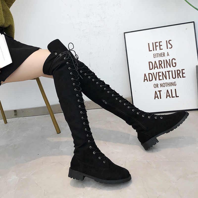 Frauen Stiefel Sexy Lace Up Über-Die-Knie Stiefel Plus Größe 43 Wildleder Oberschenkel Hohe Stiefel Lange Stiefel weibliche Winter Schuh Frauen Botas Mujer