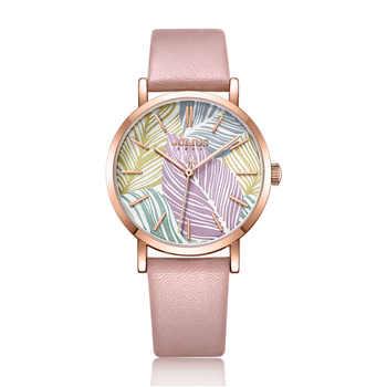 Julius Uhr Blatt Stil Geometrische Musterung Moderne Design Zifferblatt Modus Leder Damen Kleid Uhr 30 mt Wasserdicht Whatch JA-1090