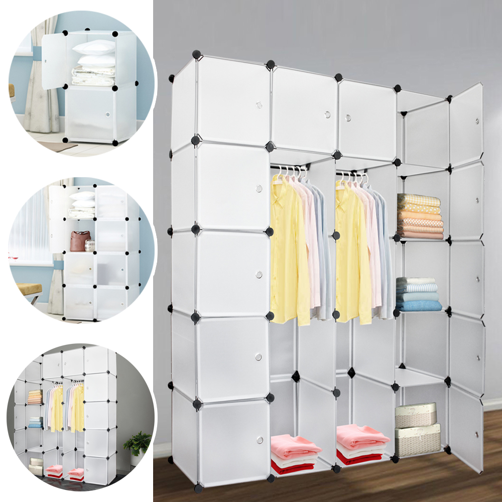 Simple Wardrobe 20 Lattice DIY Assembled Wardrobe Clothing Storage Cabinet Bookcase Clothes Organizer Home Furniture