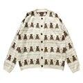 Женский короткий тонкий свитер PERHAPS U, трикотажный кардиган с круглым вырезом и пуговицами, верхняя одежда с рисунком в горошек и бежевого ме...