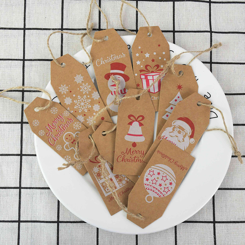 50x Shop Lable Product Price Tag Xmas Tree Shape Kraft Paper Blank Card Gift B1