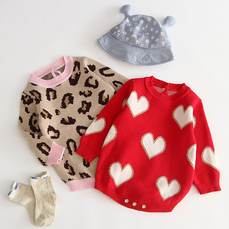 Baby Girl Bodysuit 100% Cotton Leopard Autumn Newborn Baby Clothing Girl Jumpsuit Knitted Baby Clothes Baby Girl Sweater 1
