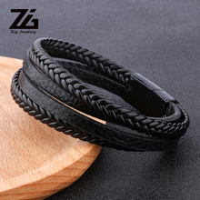 ZG 2019 New Arrival Men #8217 s Braided Leather Bracelets amp Bangles in Black and Brown Color with Magnetic Punk Bracelet for Man cheap Charm Bracelets Zinc Alloy Rope Chain Geometric Other(Other) Vintage Fashion M1905 None 20CM laser logo can be booked PU leather and zinc alloy