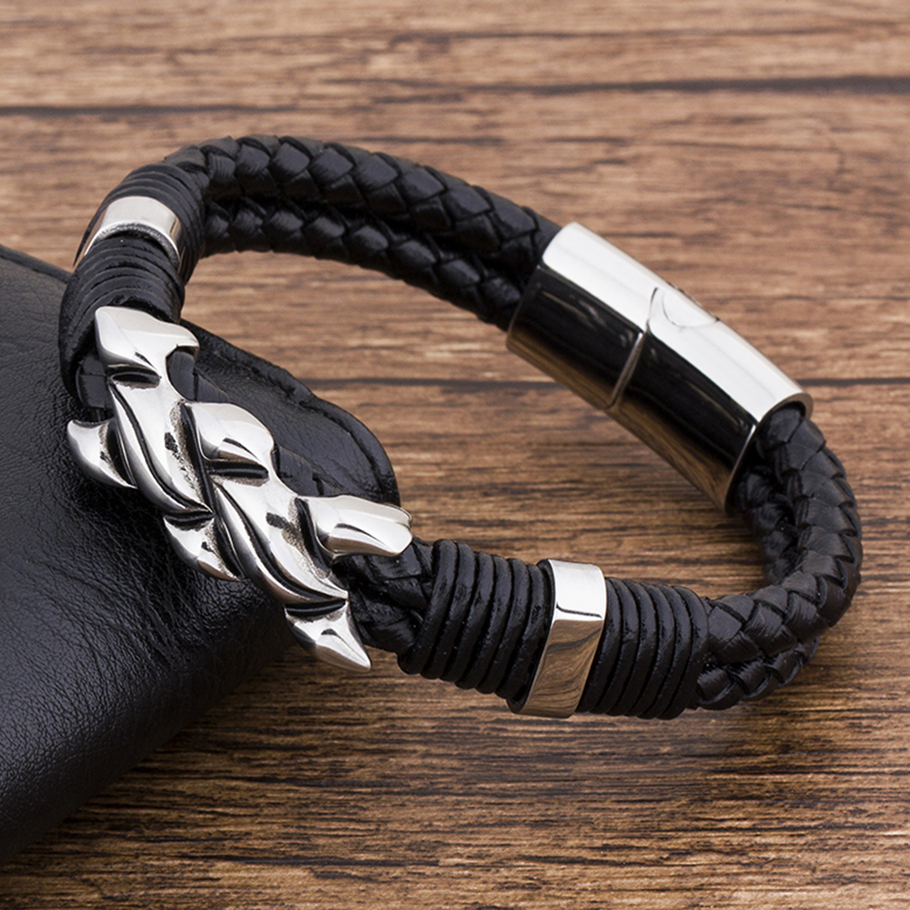 Charm Fashion New Braided Magnetic Rock Punk Black Rope Genuine Leather Bracelet Men Accessories Jewelry Couple Friendship