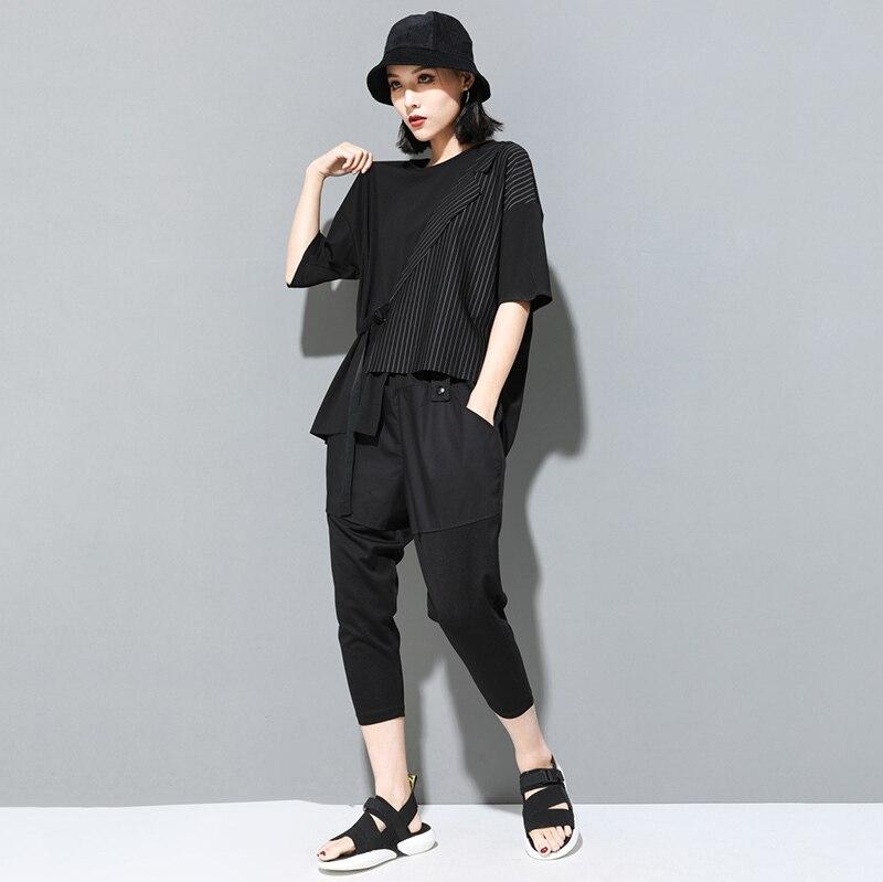 [EAM] Women Black Striped Asymmetrical Big Size T-shirt New Round Neck Half Sleeve  Fashion Tide  Spring Summer 2020 JT230 6