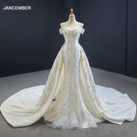 J66945 JANCEMBER Mermaid Wedding Dresses Detachable Train Sweethear Lace Up Appliques Elegant Vestito Da Festa Di Nozze