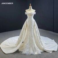 J66945 JANCEMBER Mermaid Wedding Dresses Detachable Train Sweethear Lace Up Appliques Elegant Vestito Da Festa Di Nozze