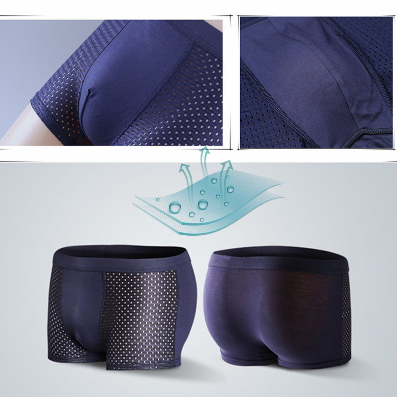 4pcs/Lot Men's Panties Male Underpants Man Pack Shorts Boxers Underwear Slip Homme Calzoncillos Bamboo Hole Large Size 5XL6XL7XL