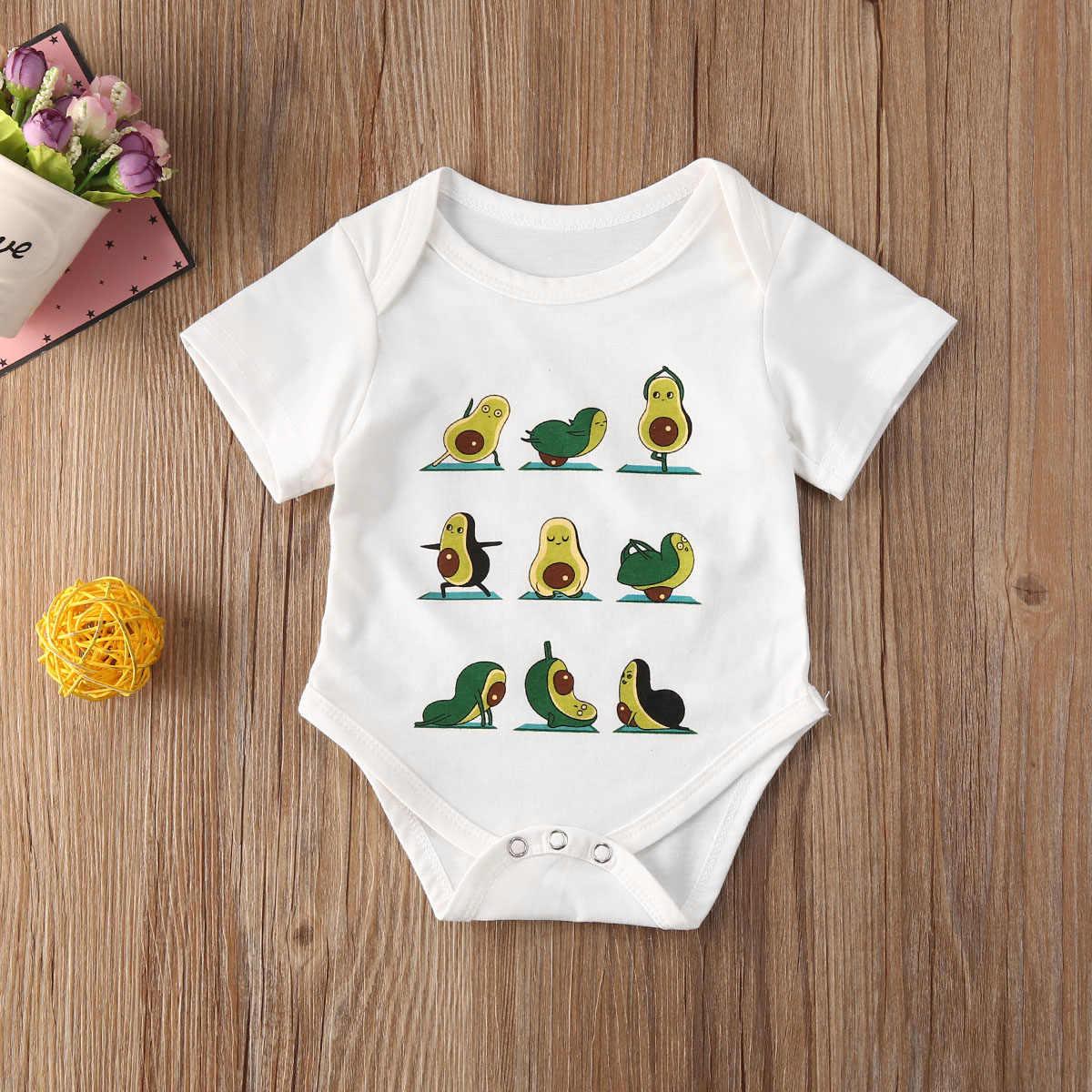2020 아기 여름 의류 여자를위한 아기 Jumpsuits 만화 아보카도 인쇄 라운드 넥 반팔 Bodysuit for Kids Girls