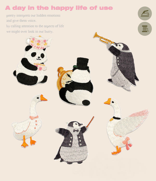 Cute Japanese And Korean Wind Animals Cloth Stick Manual Embroidery Patch Patch Penguin Panda White Goose Children's Clothing Ap