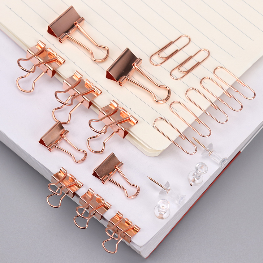 72PCS Gold Binder Clips Push Pins Long Tail Clip Stationery Combination Set School High Quality Learn Stationery Supplies