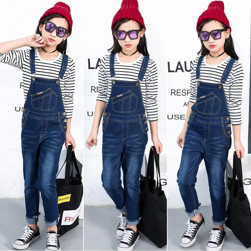 2019 New Kids Denim Overall For Girls Children Autumn Suspenders Pencil Jeans Kids Jumpsuit Girls Denim Overalls High Quality