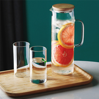 1700ml/58oz Heat Resistant Glass Teapot Glass Water Kettle Home Water Bottle Drinking With Stainless Steel Cover Jar