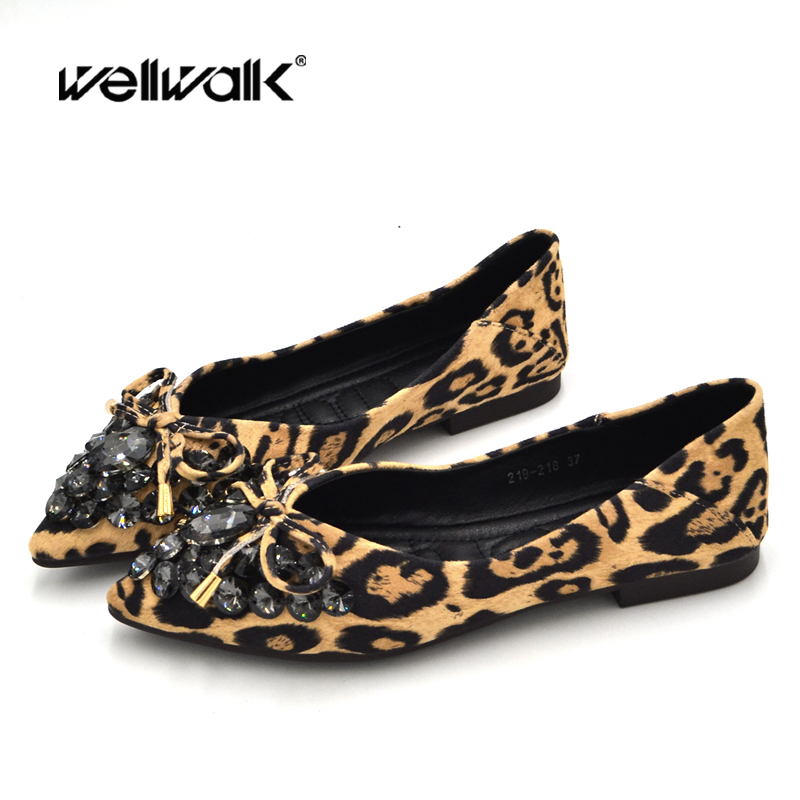 Leopard Shoes Women Ballet Flats Rhinestone Animal Printed Bow Knot Pointed Toe Ladies Sexy Flat Ballerinas Foldable Moccasins