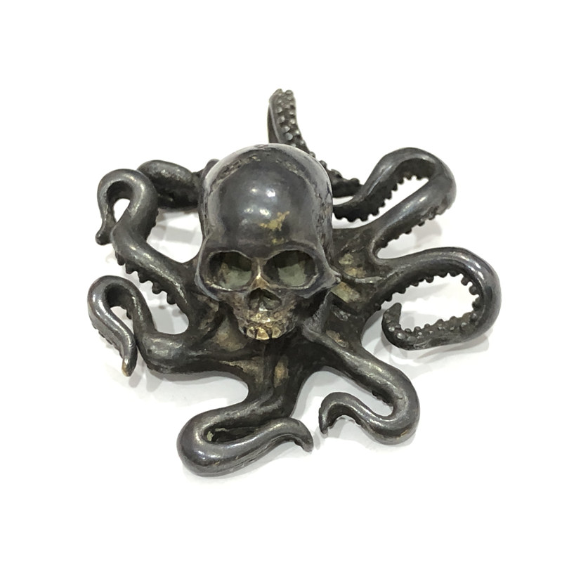 Punk Vintage Skull Octopus Figurine Desktop Ornament Decoration Brass Skeleton Animal Miniature Toy Home Decor Craft