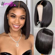 Upretty peruca cabelo frontal, cabelo brasileiro pré-selecionado, reto, com renda, remy perucas, perucas