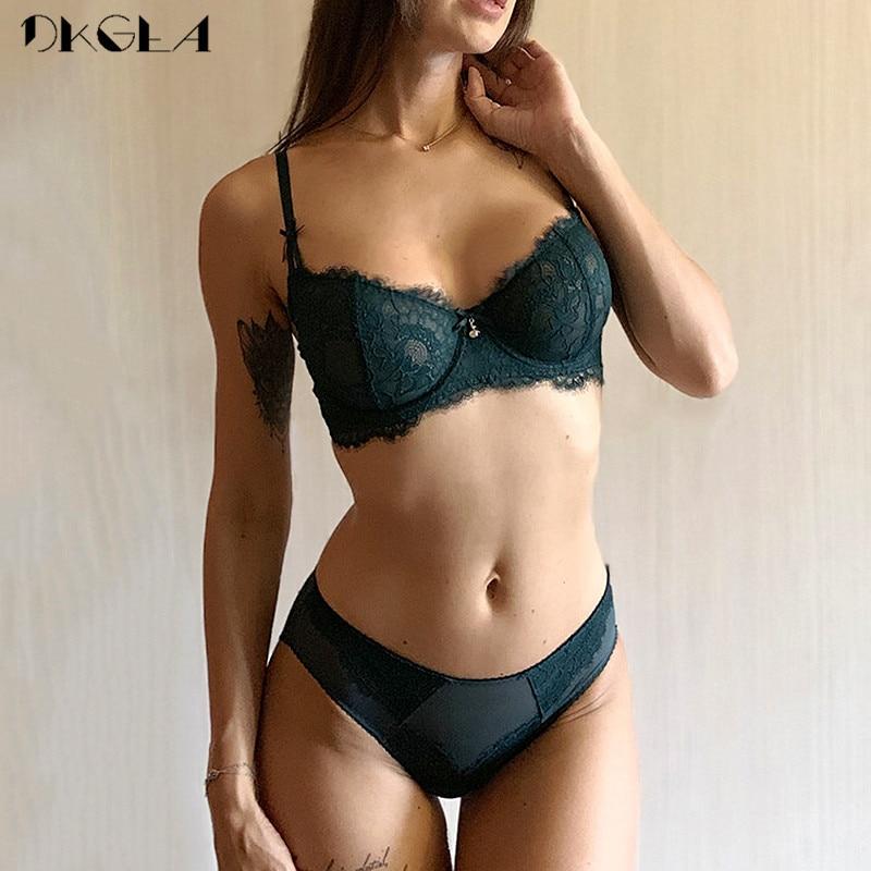 New Ultrathin Underwear Set Women Bras Plus Size D E Cup Embroidery Sexy Bra Set Transparent Green Eyelash Lace Lingerie Set
