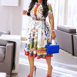 Robe Tunic Pleated-Dresses Vestiods Geometric Printed Midi Elegant Femme Plus-Size Women