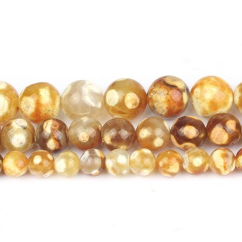 6/8/10mm Natural Yellow Ice Craked Agates Stone Beads Round for Jewellery Making DIY Bracelets Necklace 15/Strand image