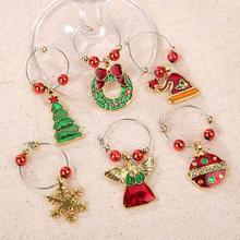 6Pcs/lot Christmas Wine Glass Decoration Charms Party New Year Cup ring Table Decorations Xmas Pendants decoracion navidad