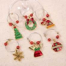 Lote de 6 unidades de adornos navideños para decoración de vaso de vino, decoraciones de mesa de anillo, colgantes de navidad, decoración de navidad