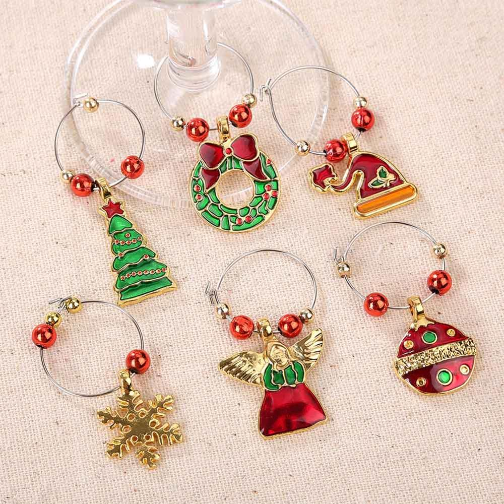 Christmas Xmas Wine Glass Charms Ring Earing Hoop Table Decoraton Party Idea
