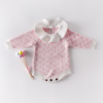 Cute Infant Girls Kids Crochet Princess Candy Pink Rompers Toddler Babe Autumn Winter Knitted Clothing Romper