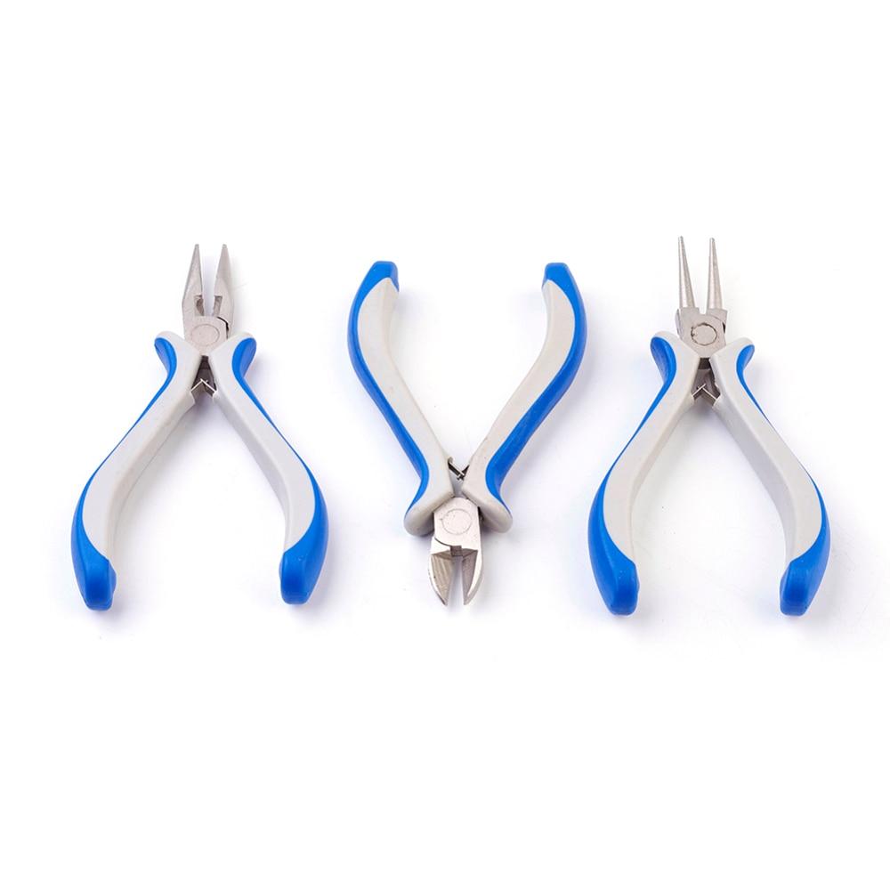 DIY ювелирные инструменты, наборы оборудования, синие плоскогубцы, наборы, плоскогубцы с круглым носом, плоскогубцы и проволочные резаки, инс...