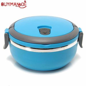 Stainless Thermo Insulated Thermal Food Container Bento Round Lunch Box 1 Layer