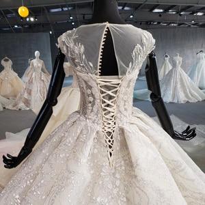 Image 4 - HTL1002 роскошное свадебное платье бохо Иллюзия o образным вырезом без рукавов Кнопка назад аппликации невеста, свадебное платье новый дизайн robe de mariage